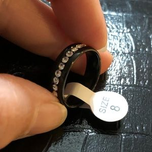 Stainless Steel Black Band With rhinestones